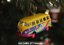 Peace Volkswagen Bus Custom Christmas Ornament VW 1/64 T2 Flower Power Panel Van