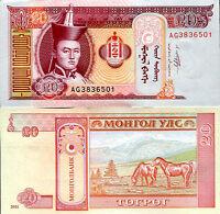 MONGOLIA 20 TUGRIK 2011 P NEW SIGNTURE UNC