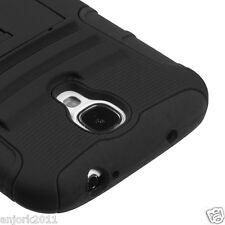 Samsung Galaxy S4 Hybrid Armor Case Skin Cover w/ Stand AA Black