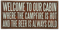 "PLAQUES & SIGNS - ""WELCOME TO OUR CABIN"" SIGN - LODGE AND LAKE HOUSE WALL DECOR"