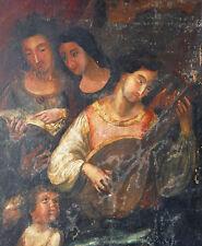 15-16th C. Italian Renaissance Old Master Antique Tempera Painting Musicians