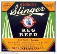 Slinger Beer Storck Brewing Vintage Antique Keg Label Poster Ad Print Slinger,Wi