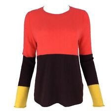 CLEMENTS RIBEIRO Coral Red, Claret Yellow Colour Block Pure Cashmere Jumper 14