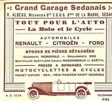 "SEDAN ""  GRAND GARAGE SEDANAIS AUTO MOTO CYCLE "" PETITE PUBLICITE 1930 ?"