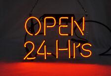 """'Open 24 Hours' Beer Bar Pub Art Window Display Real Neon Light Sign 10""""x8"""""""