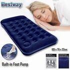Bestway Inflatable Camping Air Bed Mattress Single Builtin Foot Pump & Pillow