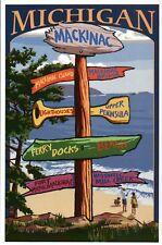 Mackinac Michigan Destination Signpost, Bridge, Beach MI etc. -- Modern Postcard