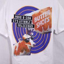 DeKuyper Buttershots Mens T Shirt Vintage 90s Cow Liquor Oneita White Size XL