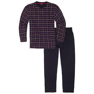 Pyjama Herren Schlafanzug lang Baumwolle XXL Hausanzug Nachtwäsche in Übergrößen