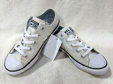 Converse Girl's CTAS OX Wolf Grey Glitter Sneakers - Size 3/5 NWB 665979C