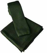 New Avocado Green Skinny Tie with Matching Knitted Pocket Square