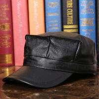 Mens Fall Cowhide Real Leather Falt Hat Octagonal Army Cap Fashion Peaked Hat