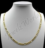"Real 10K Solid Yellow Gold 3.5mm Figaro Link Chain Pendant Necklace 16""- 30"""