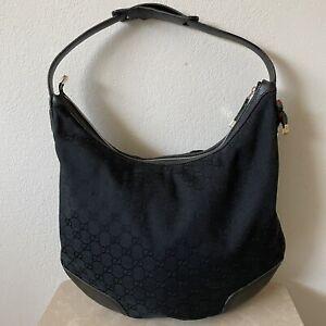 GUCCI Large Black GG Canvas Leather Hobo Shoulder Bag-Web Detail-Gold Hardware