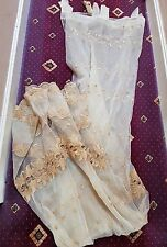 fancy beige gold nude voile curtains - window net - ready made tab top curtains