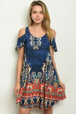 New USA Boho Paisley Floral Boutique Cold Shoulder Pockets Western Dress S-M-L