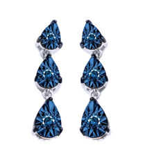 Big Look 100% Blue Simulated Diamond 14K White Gold Over 3 Stone Stud Earrings