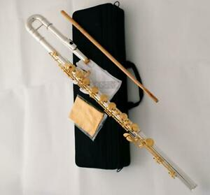 Professional Silver Gold Plated Bass Flute C Key Off Set G Italian Pads NEW