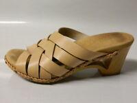 DANSKO Tory Womens Strappy Sandals Shoes Braid Slide Leather Tan Sz 38 7.5-8 GUC