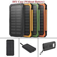 Portable 50000mAh Solar Power Bank Dual USB Charger DIY Case + LED Flashlight