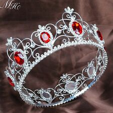 "Red Simulated Ruby Crown 3.5"" Full Round Tiara Diadem Pageant Wedding Party Prom"