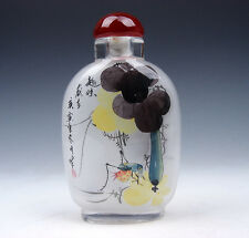 Peking Glass Inside Reverse Hand Painted LARGE Snuff Bottle Mantis Grapes Gourd