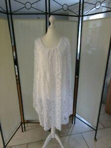 032 Sommer Kleid Spitze Tunika Longbluse  Baumwolle Gr. 46/48/50