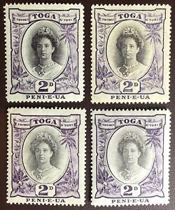 Tonga 1920-35 2d Varieties MNH