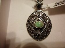 Artisan Crafted Utah Variscite Pendant w/o Chain in 925 Sterling Silver-0.77 CTW