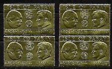 JFK John F Kennedy + Winston Churchill on Mint NH Gold Foils Complete Set of 4
