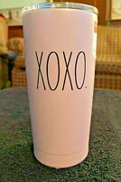 RAE DUNN INSULATED STAINLESS STEEL TRAVEL TUMBLER PINK W/ BLACK XOXO VALENTINE'S