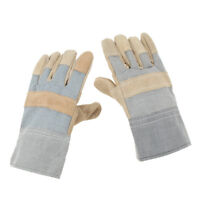 1 Pair Cowhide Leather Work Gloves Safety Canvas Lined for Men Women