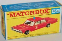Matchbox Lesney Product No 59  Ford Galaxie Fire Chief empty Repro  style D Box