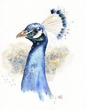 "ORIGINAL PEACOCK Watercolour Painting  9""x12"", Colourful, Lisa WU Art, Bird"