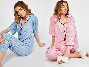 Ladies Blue or Pink Floral Pyjama Button Top And Trousers Set .Size 8-10-12-14