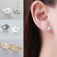 ALS_ JN_ Trendy Animal Pig Hollow Heart Stud Earrings Women Girl Jewelry Gift  P