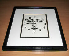 "Framed Matted Piero Fornasetti Print Clock Face Julia Eyes 11""x 12 1/2"""