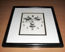 "Framed Matted Piero Fornasetti Print Clock Face Julia Eyes 11""x 12 1/2"""
