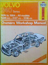 VOLVO 240 HAYNES MANUAL (1974-1984 MODELS) free p&p to uk