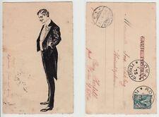 Italia Roma, uomo in frack, volte DRESS COAT, inchiostro di china disegno manuale painting! 1903