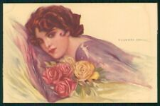 Artist Signed Corbella Glamour Lady WATER STAIN serie 250-6 postcard TC3338