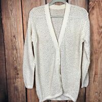 Vtg Women's Thin Cable Knit Cardigan Sweater Size Medium Large L/S