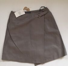 Ladies Antipodium Nappa Leather Instinct Skirt In Cement. Size 10