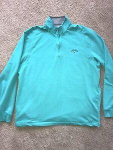CALLAWAY Mens 1/4 Zip Pullover Long Sleeve Aqua L Sweatshirt