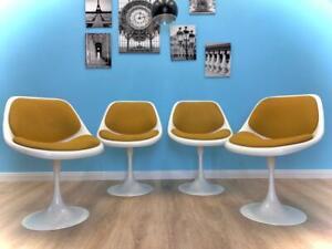 4 x schöne 70er Jahre Tulpenfuß Stuhl Tulip Chair Trompetenfuß Vintage Retro Alt