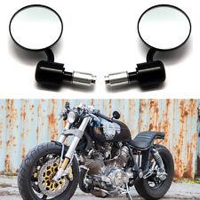 "BLACK MOTORCYCLE 7/8""-1"" BAR END REARVIEW MIRRORS FOR CUSTOM BOBBER CAFE RACER"
