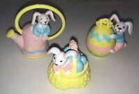 Lot of 3 VINTAGE HARD RUBBER COLORFUL EASTER BUNNY EGGS BASKET DECOR FIGURINES