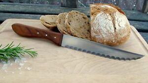 Messer Brotmesser Handarbeit Solingen Mertens 70-er Holz Kirsche Sau Scharf