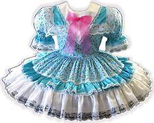 "44.5"" Aqua Floral White SATIN Adult Little Girl Baby Sissy Dress LEANNE"