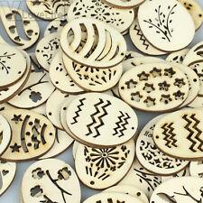 50pcs Laser Cut Wood Embellishment Wooden Easter Egg Shape Wedding Craft Decor